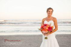 Avalon Wedding Florist - A Garden Party florist - Pravada Photography - Golden Inn - dahlias - beach wedding - orange wedding flowers - purple wedding flowers