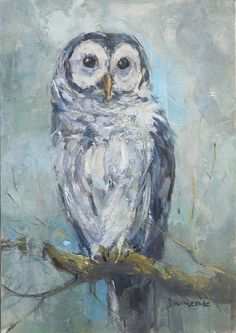 Waiting at the Edge of Dusk - Barred Owl Painting - Deb Kirkeeide