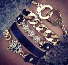 Black And Gold Bracelets - Cheetah - Chain - Handcuffs
