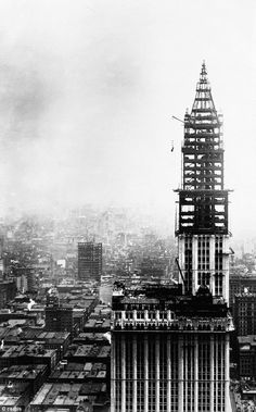 A view of the Woolworth Building, then the world's tallest building, being completed in 1913 New York City