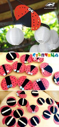 Ladybug Crafts s dřevěnými kolíčky na prádlo