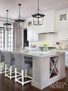 Island with Wine Rack, Transitional, kitchen, Atlanta Homes & Lifestyles. Kitchen lighting