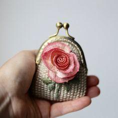 Beige crochet coin purse with crocheted hand dyeing rose, crochet art, OOAK.