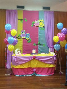 Decoração corujinha Owl Cake Birthday, 1st Birthday Party For Girls, Owl Party Decorations, Owl 1st Birthdays, Owl Parties, Disney Princess Birthday, Girl Shower, Baby Shower Themes, Bb