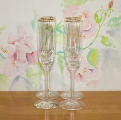 Gorgeous, Set of 4, Vintage, Lenox McKinley, Fluted Champagne Glasses by cocoandcoffeevintage
