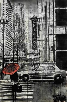"Saatchi Art Artist Loui Jover; Drawing, ""chicago.....that toddling town (SOLD)"" #art"