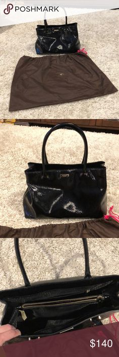 Kate Spade bag. Shiny patent in pristine condition Gorgeous Kate spade bag. Comes with dust bag and tags. I bought this a week and a half off posh and it's in perfect brand new condition it's just a little big for me. kate spade Bags Totes