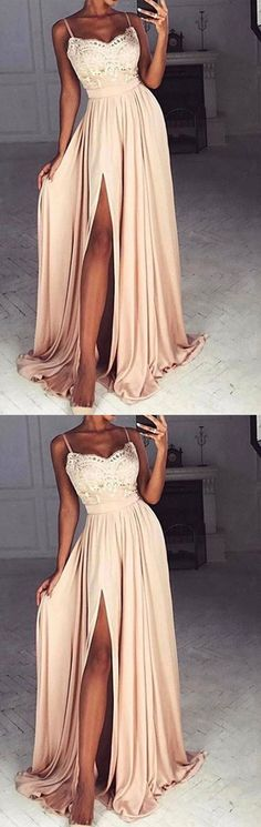 Charming A-Line Spaghetti Straps Split-Side Satin Long Prom/Evening Dress with Lace#fashion #style #promdress #dress