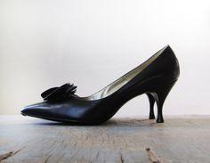 Vintage black high heels / 60s pumps / size 8.5 / Falenti