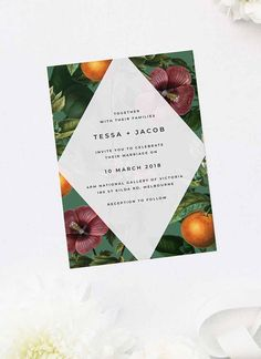 These Lush Green Tropical Botanical Wedding Invitations feature a stunning combination of leafy greens, flowers and fruit in a contemporary tropical vibe. Botanical Wedding Invitations, Wedding Invitations Online, Elegant Invitations, Floral Wedding Invitations, Custom Invitations, Invites, Destination Wedding Themes, Winter Wedding Destinations, Botanical Wedding Theme