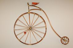 PENNY FARTHING, old fashion giant bicycle,high wheel,copper,bicycle ,sculpture, metal wall art,