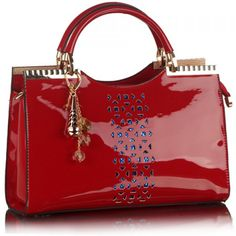 Stylish Openwork and Pandent Design Women's Patent Leather Tote Bag