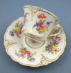 Delightful Antique Hirsch Dresden Tea Cup & Saucer