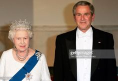 President George W Bush and Queen Elizabeth II attend a State Dinner at the White House on the fifth day of her USA tour on May 7, 2007 in Washington, DC.
