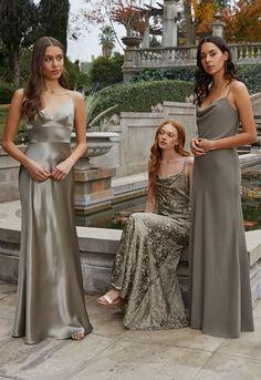 Bridal Party Dresses, Grad Dresses, Satin Dresses, Olive Green Bridesmaid Dresses, Wedding Bridesmaid Dresses, Julia Konrad, Perfect Wedding, Dream Wedding, Marie