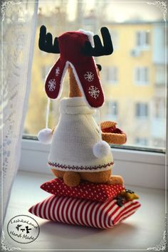 – shop online on Livemaster with sh Christmas Moose, Christmas Sewing, Christmas Pillow, Best Christmas Gifts, Handmade Christmas, Christmas Diy, Moose Crafts, Crafts To Do, Decor Crafts