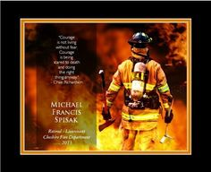 """Personalized """"Firefighter's Courage"""" -13 x 16 Framed HD Print With a Digital Mat"""