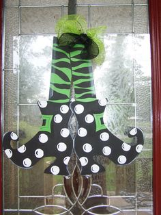 Witches Shoes Halloween. READY TO SHIP!  Door Hanger Orginal by Shirleys Treasures on Etsy, $37.00