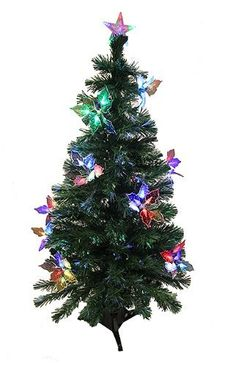 Felices Pascuas Collection Pre-Lit Fiber Optic Artificial Christmas Tree with Flowers - Multi Lights Red Blue Green, Purple Yellow, Fiber Optic Christmas Tree, Home Office Furniture Sets, Seasonal Decor, Holiday Decor, Multi Colored Flowers, Flowering Trees, Light Up