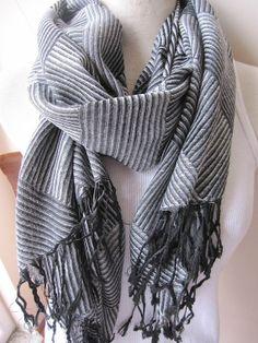 Gray black stripe pashmina shawl scarf, women's scarf,hijab-long scarf Man fashion-mad-viscose mens scarf Turkey 2014 trends-Nurdanceyiz