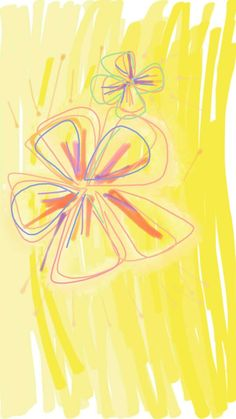 fun. doodle with line brush. another way to share your idea. flower. yellow. beautiful.