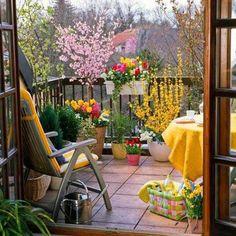 Organic Gardening Ideas small balcony garden design Small Garden Ideas: Beautiful Renovations for Patio or Balcony - Small Balcony Garden, Small Balcony Design, Porch And Balcony, Small Patio, Balcony Ideas, Balcony Flowers, Small Balconies, Patio Ideas, Balcony Gardening