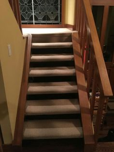 Darker Waffle Patterned Carpet On Stair Tread To Make It More Hard Wearing