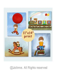 Boys room pictures Set of four 11x14 art prints by jolinne on Etsy, $84.00