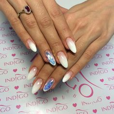 Natural White Gel + Milky Pink Gel + Perfect Clear Gel + Sugar Effect Gel + Mermaid Mirror by Magdalena Żuk, Indigo Wrocław #nails #nail #white #mirror #effect #foil #broken #glass #mermaid #syrenka #indigo #ombre #babyboomer