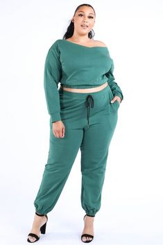 Imported medium weight jersey knit crop length top with long sleeve Polyester Spandex Olive KGL Casual Crop Jogger Set split Item Measurements: SIZE SIZE Measurements: SIZE SIZE split split Diva Boutique, Fashion Boutique, Girls Joggers, Joggers Outfit, Plus Size Casual, Tops For Leggings, Chic, Skirt Set, Spandex