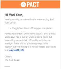 PACT app email  Very interesting and persuasive wording. Encourage me to take upon the plan even though I didn't do well in previous week.