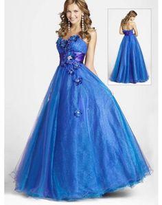 Bright A-line Sweetheart Hand-Made Flower Sleeveless Floor-length Chiffon Prom Dresses / Evening Dresses