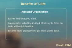 Kreato CRM makes it simple and intuitive to keep customer information organized and retrievable. It gives you quick access to all information about the customer. Assign tasks and set reminders. Share information about the customers and collaborate in real time.http://www.kreatocrm.com/get-organized/