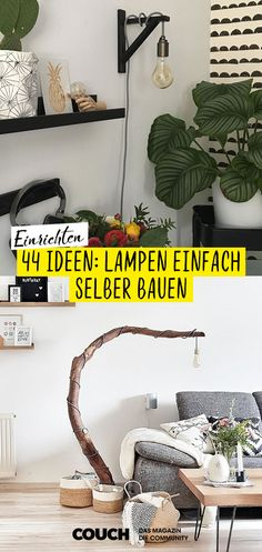 DIY lamp: build lamps yourself! 44 ideas: just build lamps yourself! From the stylish arc lamp, over table lamps and cool bedside lamps, there are great ideas for all DIY fans who want to make a lamp themselves in the near future! Lampe Decoration, Decoration Bedroom, Bedroom Lamps, Bedroom Lighting, Diy Décoration, Easy Diy, Diy Home Crafts, Diy Home Decor, Ideas Vintage