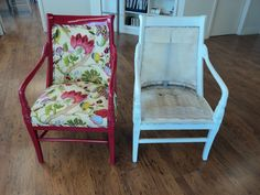 Chair before and after  #before #after #transformation #chair #decor #fabric #upholstery #spray #paint #love #modern #red #floral #chair #white
