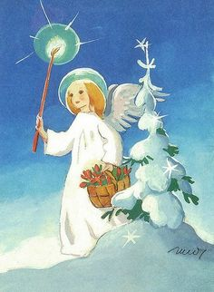 Martta Wendelin, Finland: Angel in snow by little Christmas tree Christmas Card Images, Little Christmas Trees, Christmas Nativity, Scandinavian Christmas, Vintage Christmas Cards, Christmas Angels, Christmas Art, Vintage Cards, Xmas