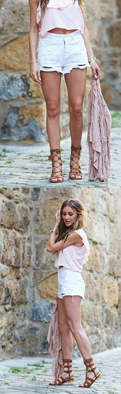 Brown Suede Lace-up Gladiator Sandals with Gold Heels from https://www.ioanachisiu.com