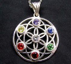 SEVEN CHAKRA  SILVER FLOWER PENDANT GT2297 gemstone jewelry , holistic jewelry, charka jewlery , charka pendnats