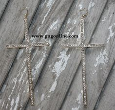 Giddy Up Glamour  $14.95  Large Crystallized Gold Cross Earrings