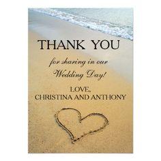 Beach Wedding Thank You Cards Heart on the Shore Beach Wedding Thank You Note Card