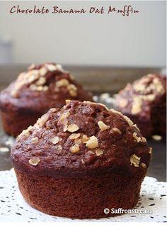 Chocolate banana oat muffins - healthy bites