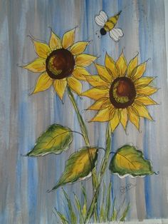 Flowers Art Painting Donna Dewberry 47 Ideas For 2019 One Stroke Painting, Tole Painting, Painting & Drawing, Fence Painting, Painting Flowers, Paintings Of Sunflowers, Sunflower Paintings, Art Floral, Garden Fence Art