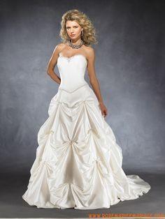 Robe A-ligne en satin agrémentée de perles et de plis robe de mariée couture