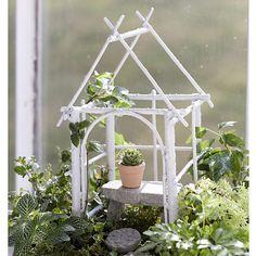Lovely little white twig gazebo for fairy garden