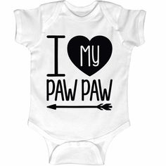 I Heart My Paw Paw Grandpa Infant One Piece. Funny #GrandpaShirts baby clothes are great for #GrandparentsDayGifts surprises, especially for first Grandpas!