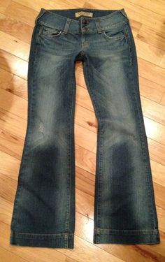 $22.99 Free Shipping Hint Jeans Low Rise Boot Cut Hip Whiskering Flap Picket Distressed Tag Sz 9