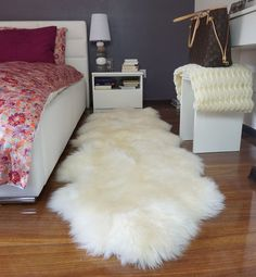 """Items similar to GIANT SHEEPSKIN Double XXL White Throw Genuine leather Sheep Skin 79 """"x Decorative rug Natural comfy,cozy, hair is very thick, shiny ! Room Ideas Bedroom, Bedroom Decor, Faux Sheepskin Rug, White Throws, Fluffy Rug, Room Color Schemes, Gold Bedroom, White Rug, My New Room"""