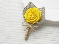 Yellow Flower burlap Boutonniere Wedding Boutonniere on Etsy, $6.00