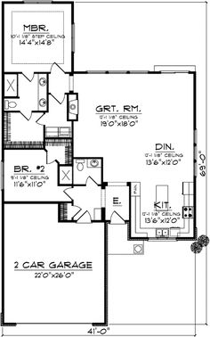 Bungalow Style House Plans - 1540 Square Foot Home , 1 Story, 2 Bedroom and 2 Bath, 2 Garage Stalls by Monster House Plans - Plan 7-1003