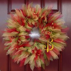 Leaves of Fall Tulle Wreath: